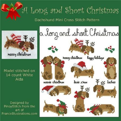 Dachshund Long & Short Christmas Counted Cross Stitch Pattern