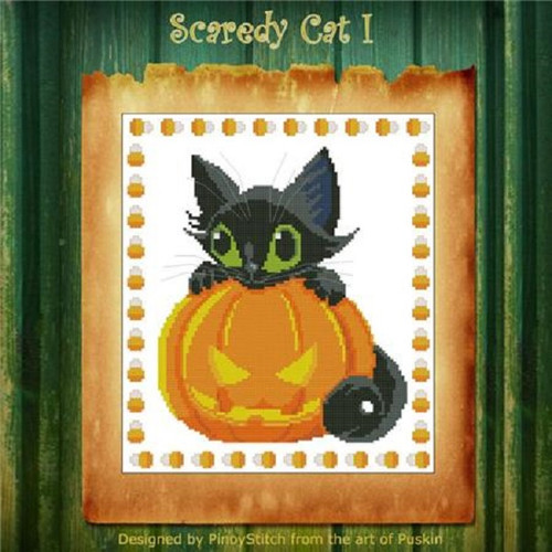Scaredy Cat Halloween 1 Counted Cross Stitch Pattern