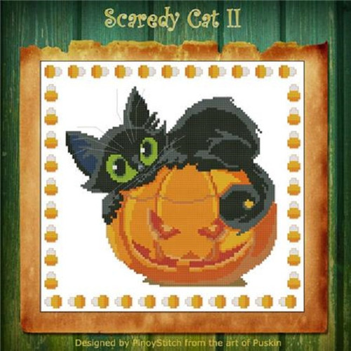 Scaredy Cat Halloween 2 Counted Cross Stitch Pattern