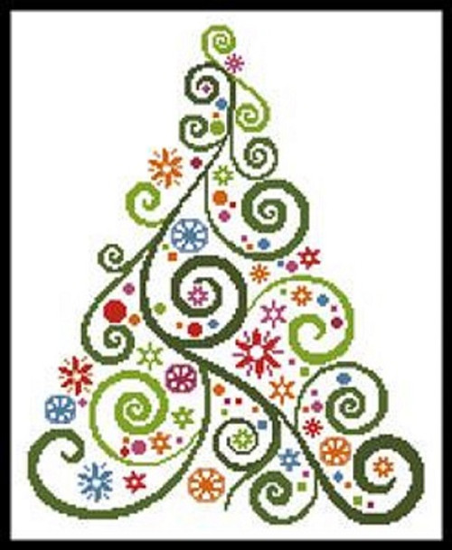 Abstract Christmas Tree Counted Cross Stitch Pattern