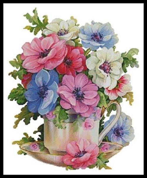 Anemone Teacup Counted Cross Stitch Pattern