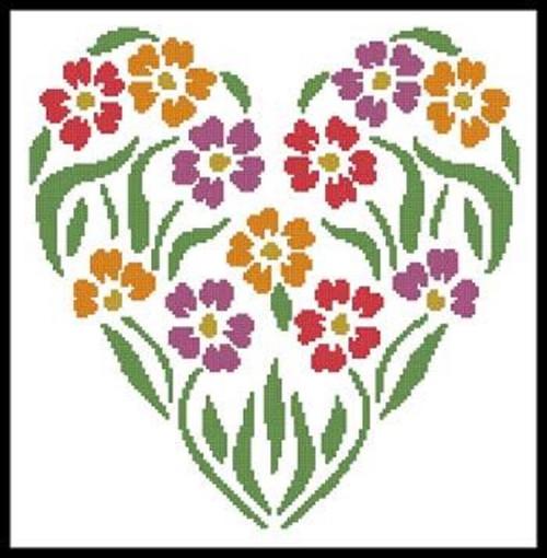 Flower Heart 2 Counted Cross Stitch Pattern