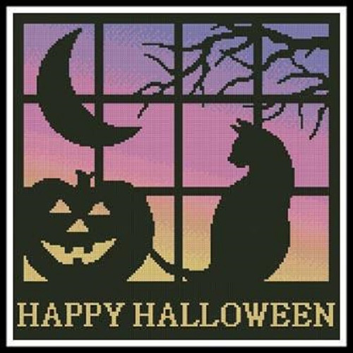 Halloween Square 1 Counted Cross Stitch Pattern