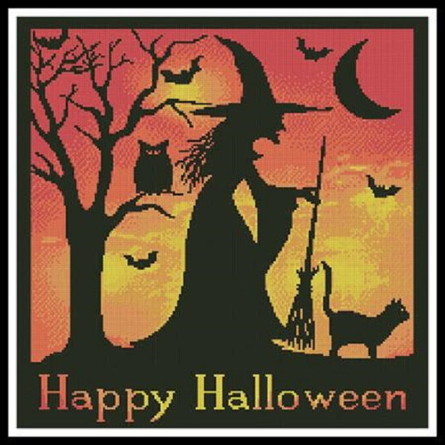 Halloween Witch Silhouette Counted Cross Stitch Pattern