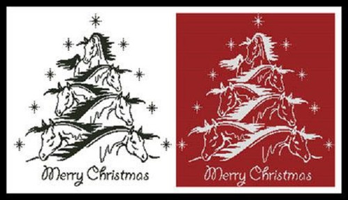 Horse Christmas Tree 2 Counted Cross Stitch Pattern