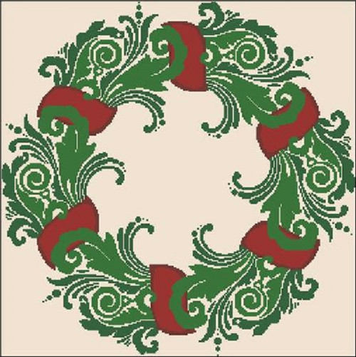 Christmas Wreath Silhouette Counted Cross Stitch Pattern
