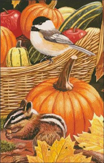 Snippet Harvest Basket Counted Cross Stitch Pattern