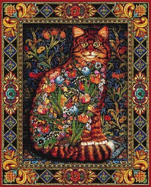 Tapestry Cat, By Lewis T Johnson Counted Cross Stitch Pattern