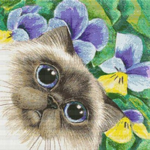 Siamese and Flowers Counted Cross Stitch Pattern