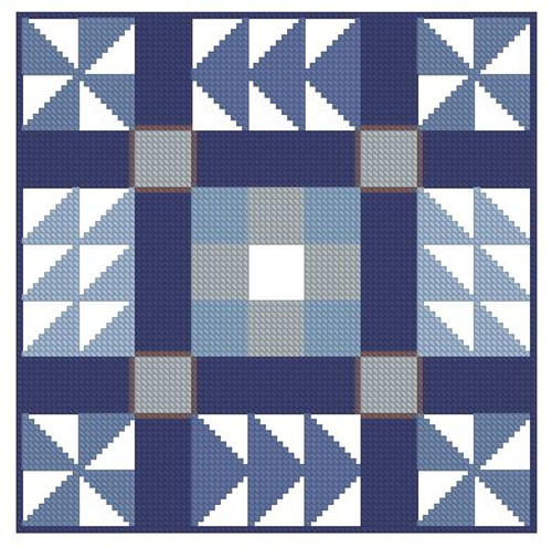 Quilt Block in Blue-PDF Download