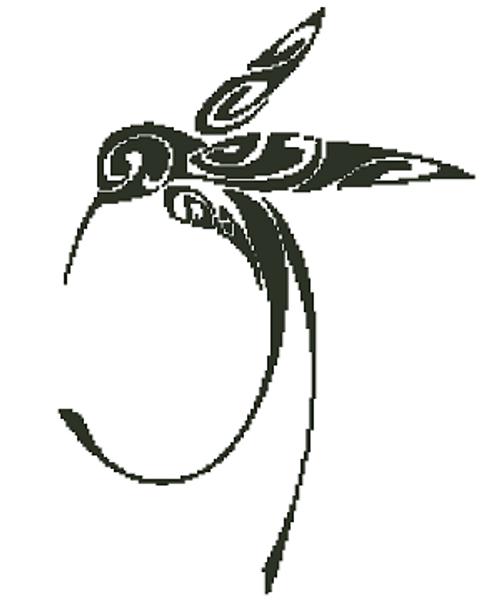 Hummingbird Silhouette Counted Cross Stitch Pattern-PDF Download