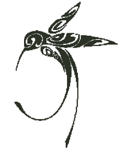 Hummingbird Silhouette Counted Cross Stitch Pattern-PDF Download