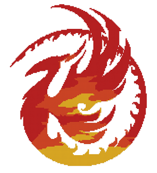 Tri-Color Phoenix Counted Cross Stitch Pattern