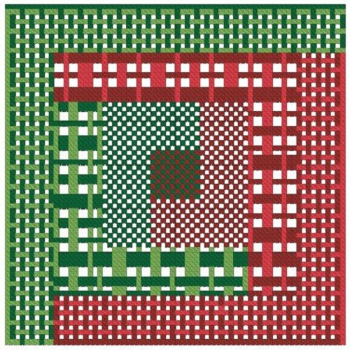 Quilt Block in Christmas Plaids Counted Cross Stitch Pattern- PDF Download