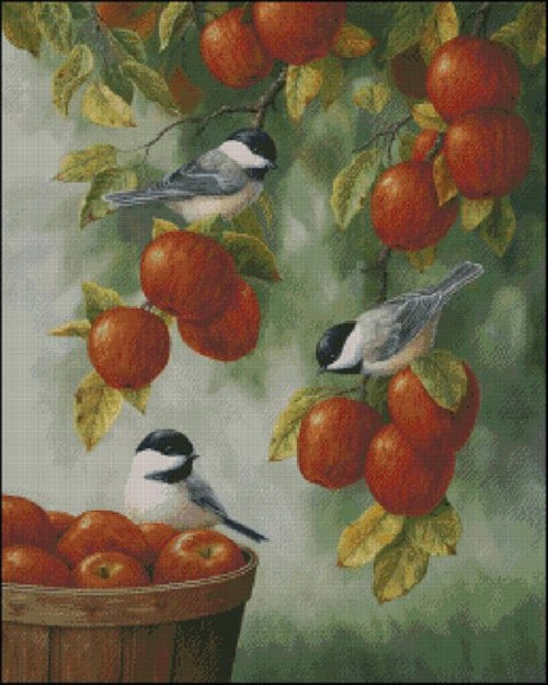 Apple Harvest Chickadees Counted Cross Stitch Pattern