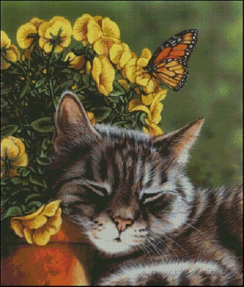 Afternoon Nap Counted Cross Stitch Pattern