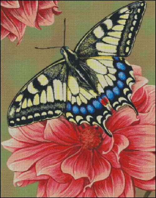 Yellow Swallowtail Butterfly Counted Cross Stitch Pattern