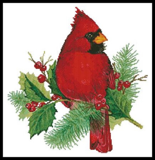 Cardinal and Holly Counted Cross Stitch Pattern