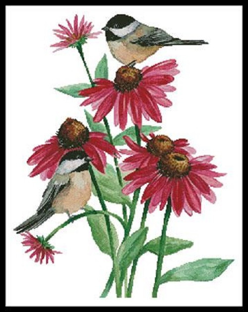 Chickadees on Coneflowers Counted Cross Stitch Pattern