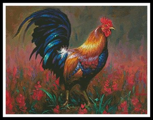 Colourful Rooster Counted Cross Stitch Pattern