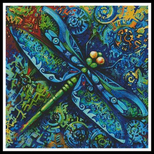 Dragonfly Painting Counted Cross Stitch Pattern