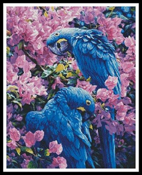 Hyacinth Macaws Counted Cross Stitch Pattern
