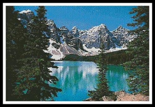Mountain Lake Counted Cross Stitch Pattern