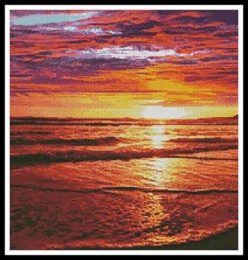 Ocean Sunrise Counted Cross Stitch Pattern