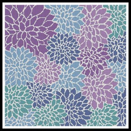Purple Blue Turquoise Flower Cushion Counted Cross Stitch Pattern