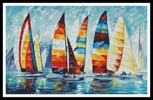 Sailing Regatta Counted Cross Stitch Pattern
