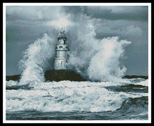 Storm and Lighthouse Counted Cross Stitch Pattern