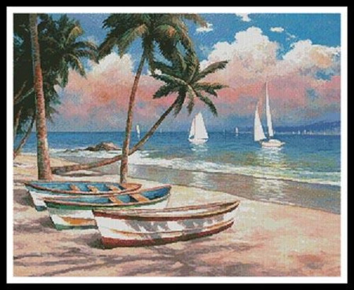Three Boats on a Tropical Beach Counted Cross Stitch Pattern