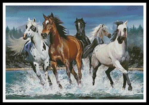 Wild Horses Counted Cross Stitch Pattern
