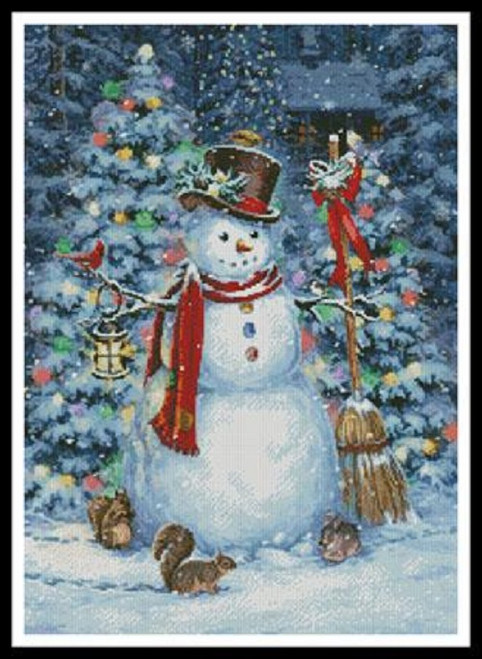 Woodland Snowman Counted Cross Stitch Pattern