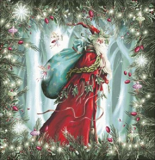 Forest Spirit Santa Counted Cross Stitch Pattern