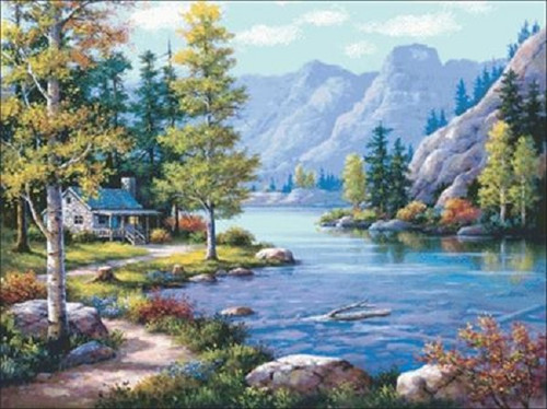 Lakeside Lodge Counted Cross Stitch Pattern
