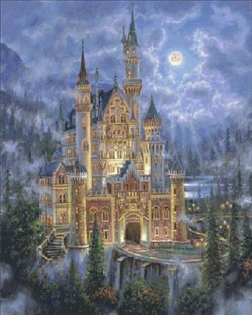 Moonlit Castle Counted Cross Stitch Pattern