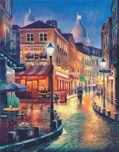 Night Stroll Counted Cross Stitch Pattern