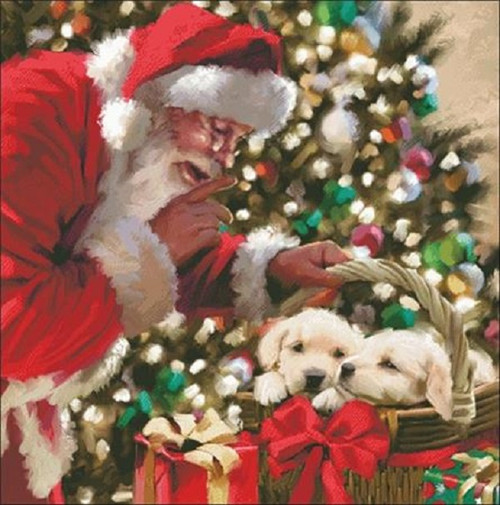 Santa and Puppies Counted Cross Stitch Pattern