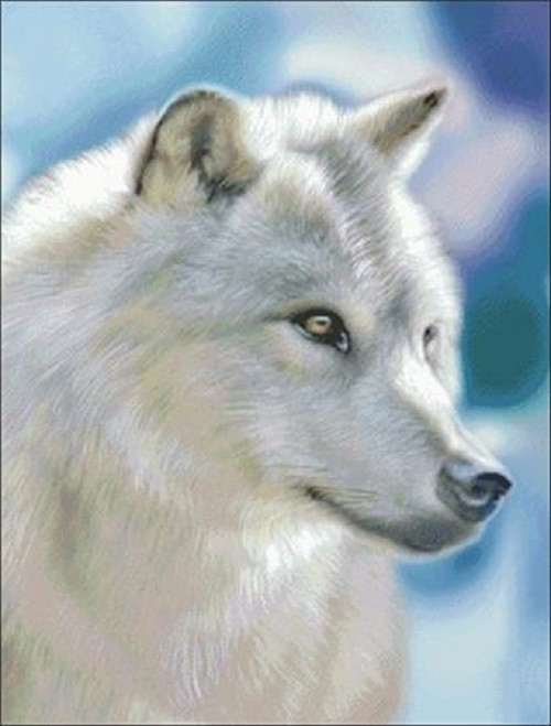 Silver Wolf Counted Cross Stitch Pattern