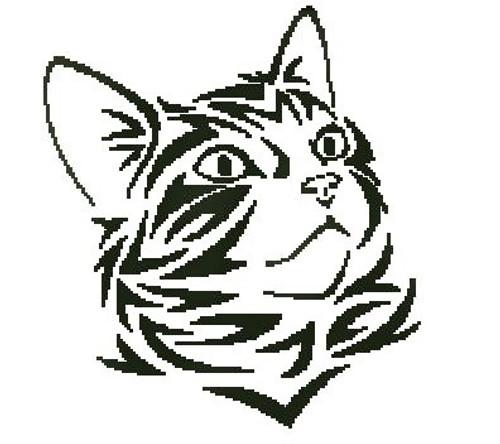 Tribal Kitten 1 Counted Cross Stitch Pattern-PDF Download