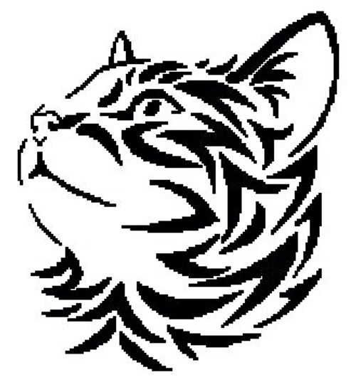 Tribal Kitten 2 Counted Cross Stitch Pattern-PDF Download