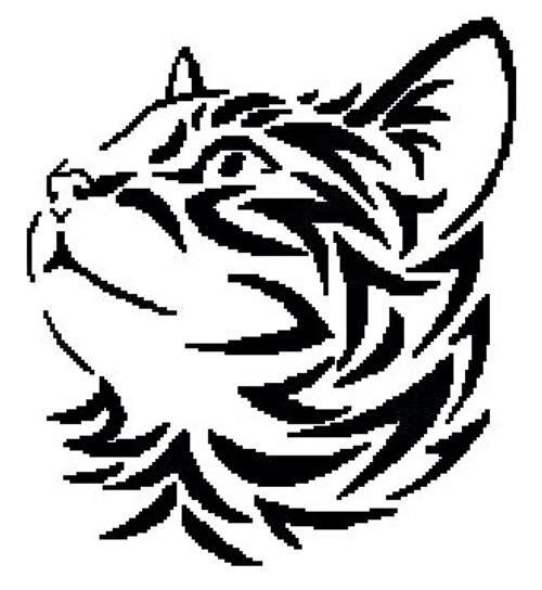 Tribal Kitten 2 Counted Cross Stitch Pattern-PDF Download