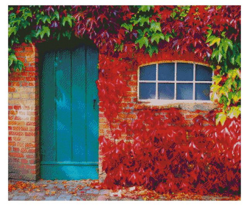 Blue Door in Autumn - PDF Download Counted Cross Stitch Pattern