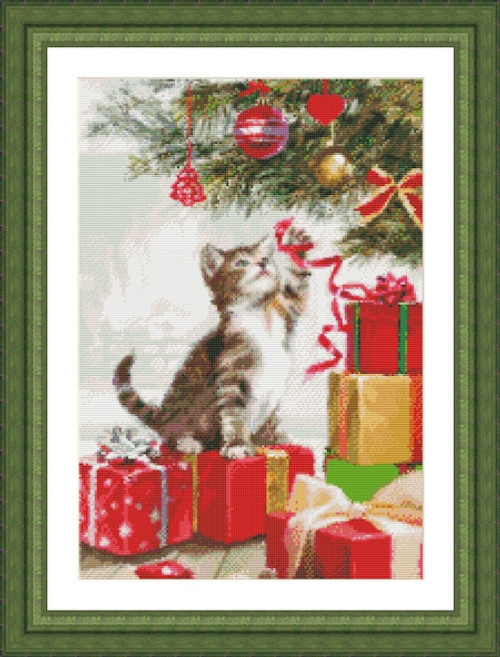 Kitten With Ribbon Counted Cross Stitch Pattern