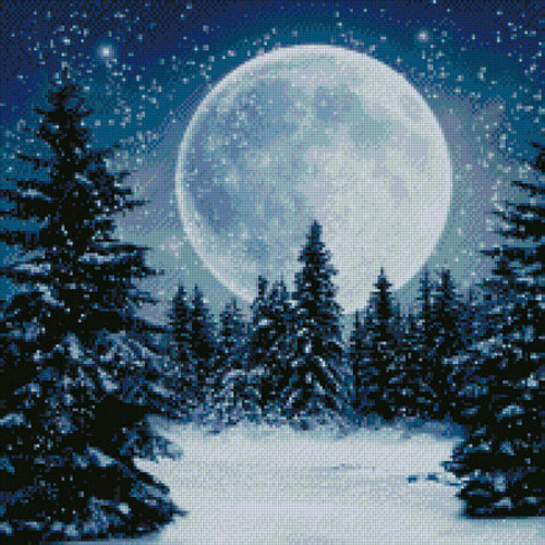 Winter Moon Counted Cross Stitch Pattern