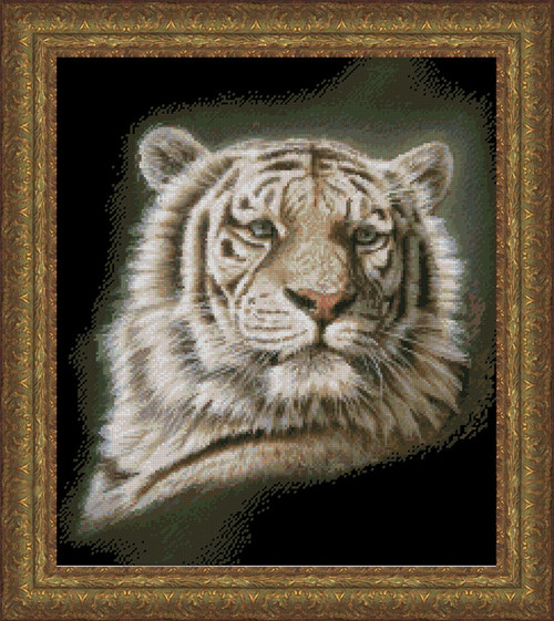 Portrait of a White Tiger Counted Cross Stitch Pattern
