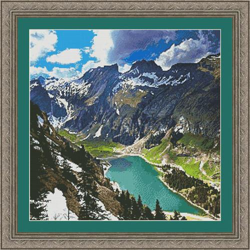 Alpstein Mountain Counted Cross Stitch Pattern