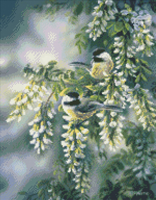 Springtime Jewels Chickadees Counted Cross Stitch Pattern