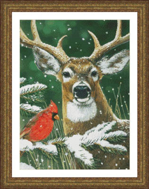 Deer and Cardinal Counted Cross Stitch Pattern